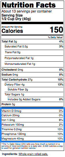 nutrition label of oatmeal with micronutrients highlighted