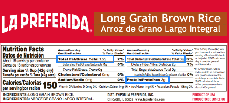 nutrition label of rice with macronutrients highlighted