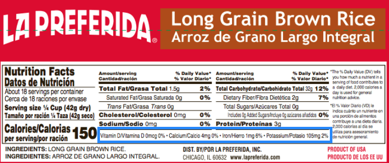 nutrition label of rice with micronutrients highlighted