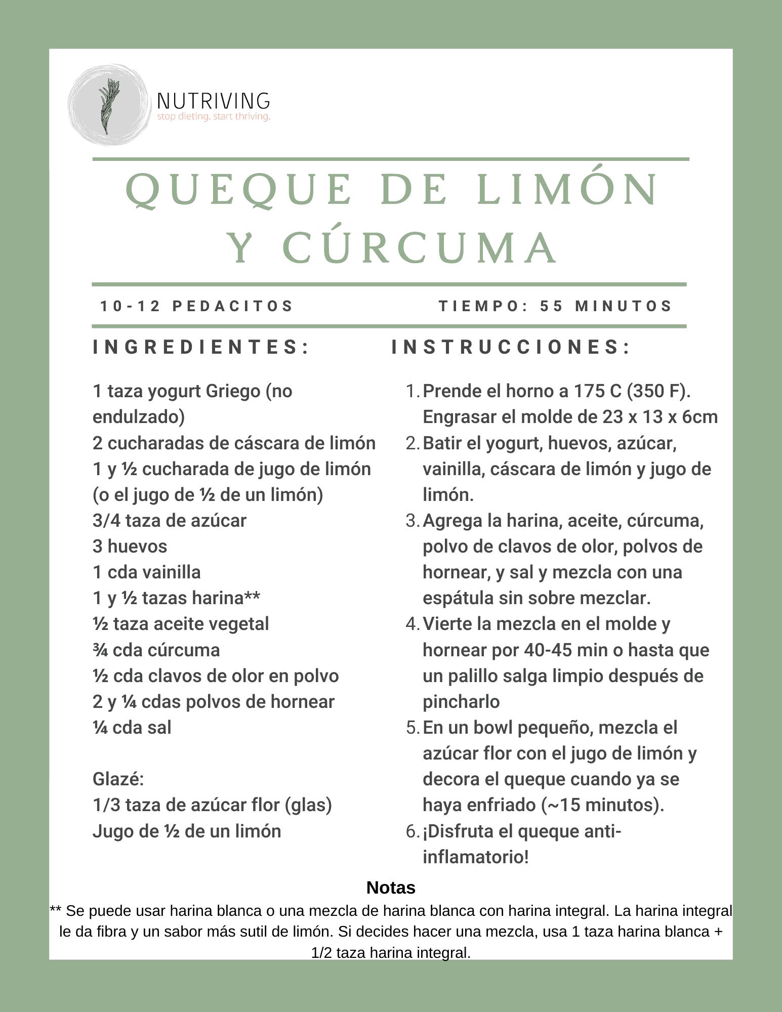 Queque limon curcuma receta
