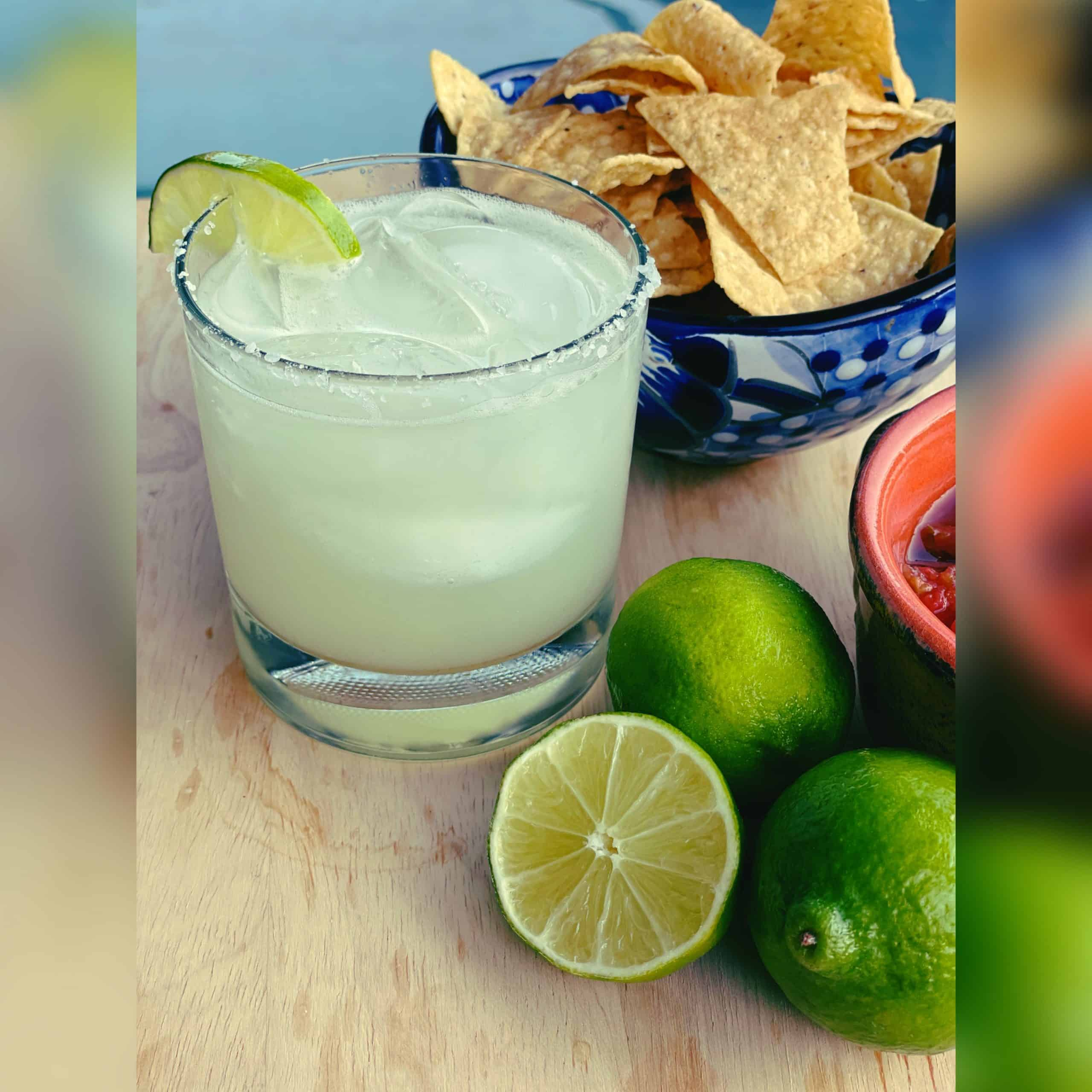Healthy Margarita with chips and salsa