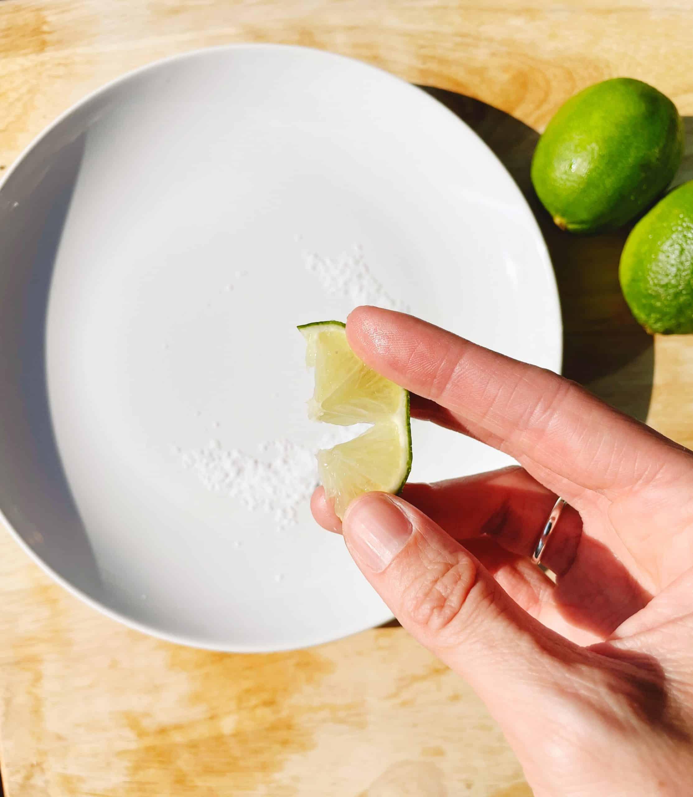 preparing salt rim for healthy margarita