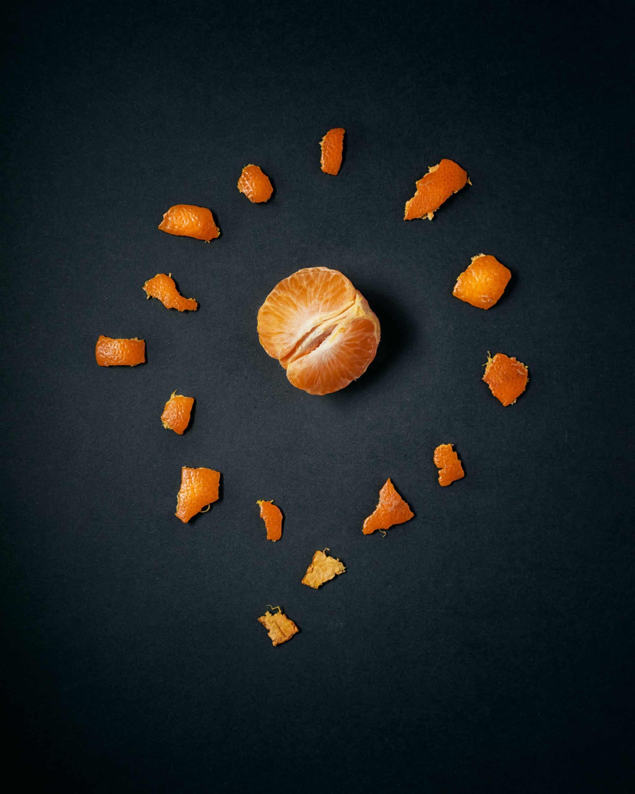 orange peel broken down to represent breaking down macronutrients vs micronutrients