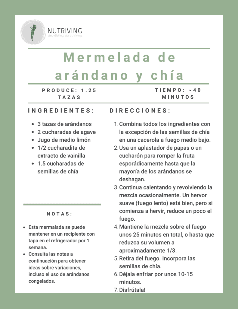 Blueberry chia jam recipe card in spanish