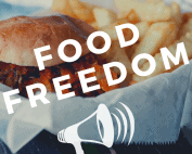 """picture of a burger and french fries with the words """"food freedom"""" and a megaphone"""