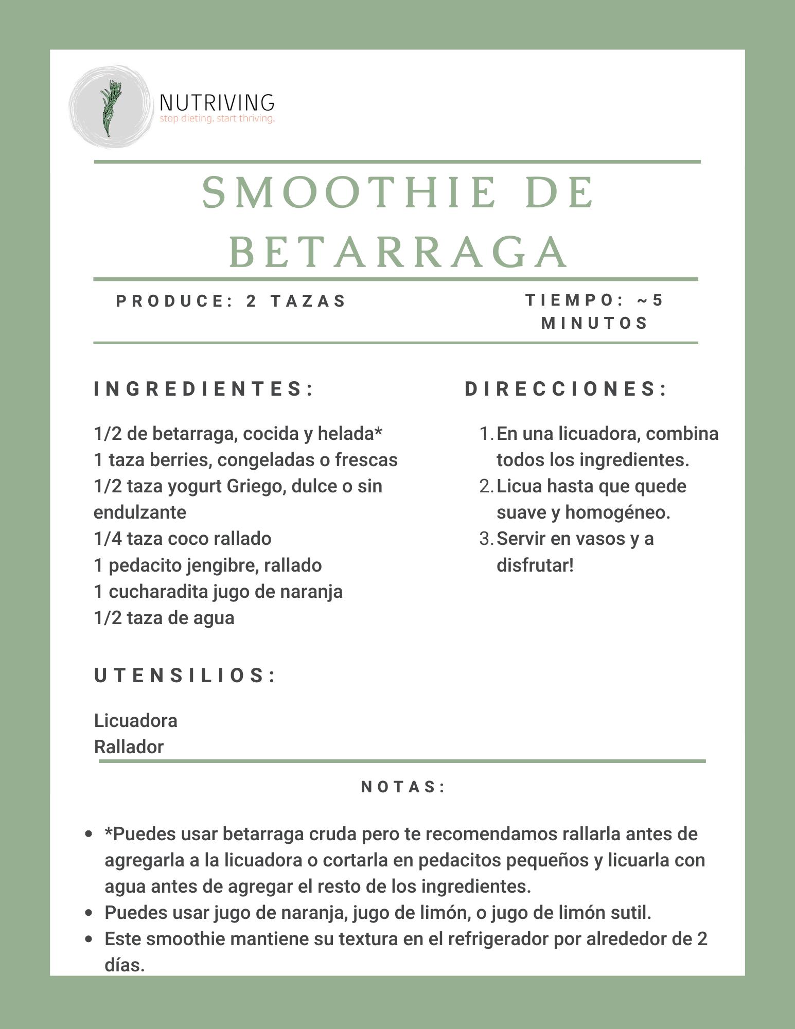 Beet Smoothie Recipe In Spanish