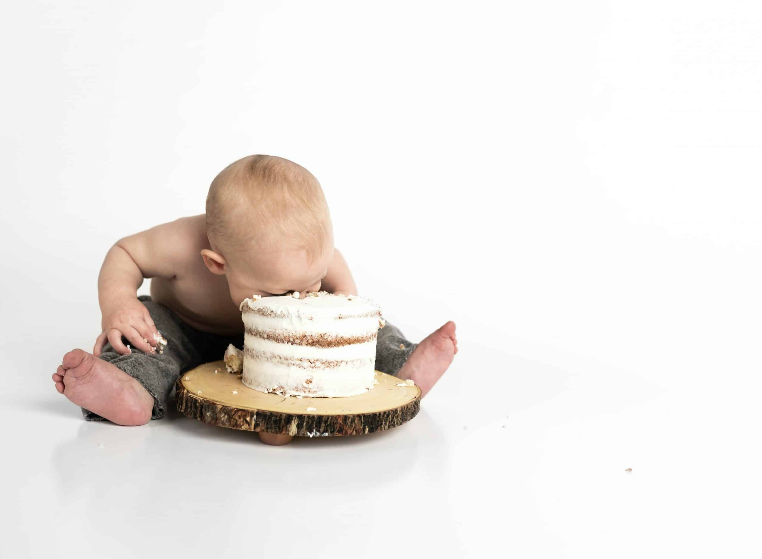 baby eating cake- hungry at night